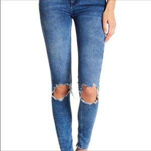 Free People high waisted distressed blue jeans